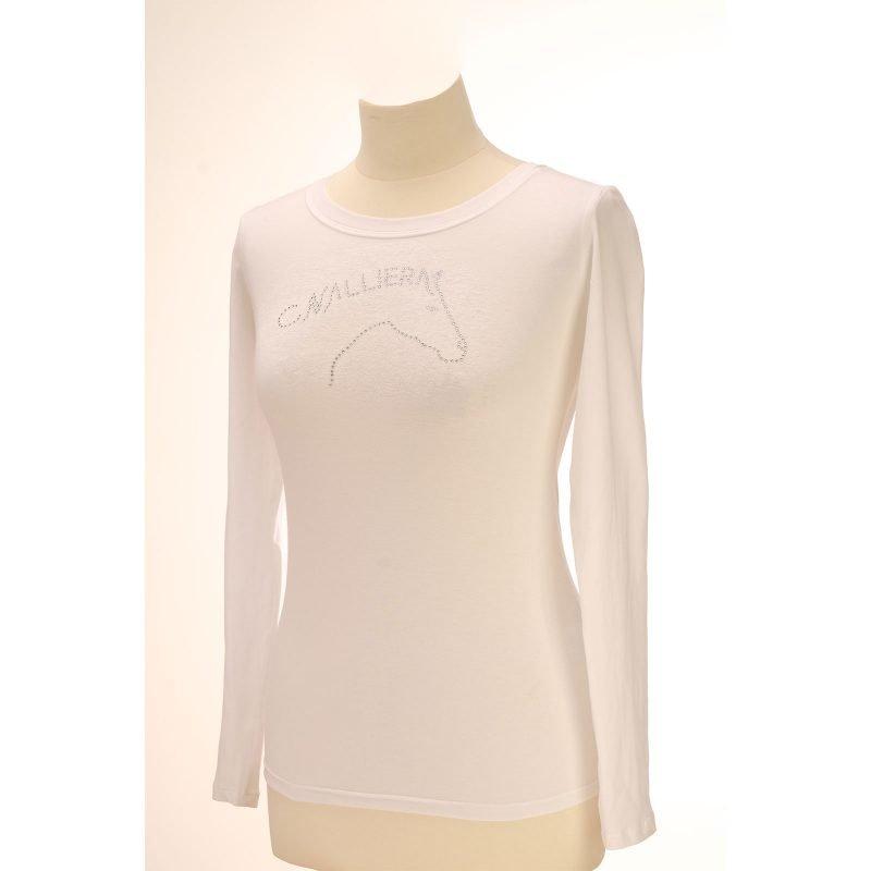 Cavalliera ART pitkähihainen paita taiteellisella kristalleista muodostuvalla hevosen pään kuvalla