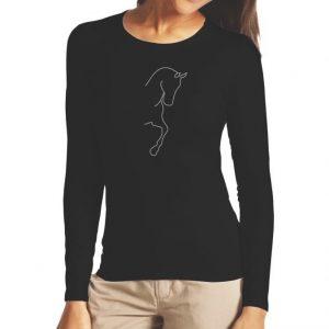 Cavalliera Crystal Dressage Horse silhouette pitkähihainen paita
