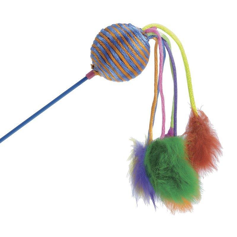 Höyhenlelukeppi värikkäällä helistinpallolla ja plyysihännillä värilajitelma. Pallo 4.5 cm keppi 60 cm